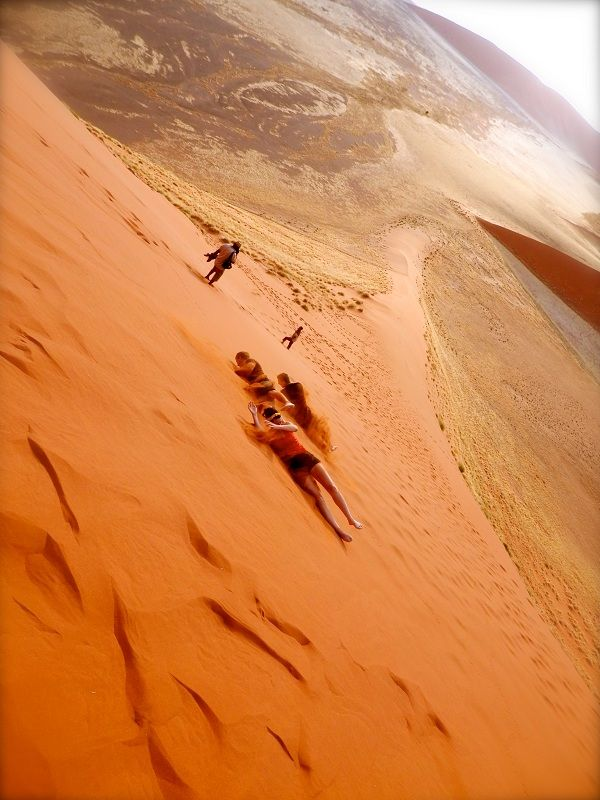 Rolling with the homies! After climbing Dune 45 - save your legs and rollllll down! #Namibia #Africa