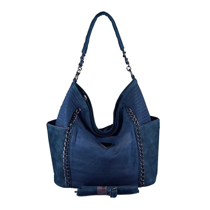 . OBC XXL DAMEN JEANS TASCHE Handtasche Schultertasche Hobo-Bag Kette Henkeltasche Bowling Beuteltasche Shopper CrossOver Dunkelblau…
