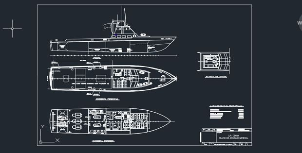 Boat diana detail drwing with autocad FREE DWG