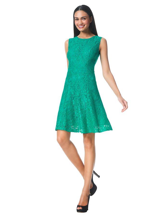 Scarlett - emerald - Flared kanten jurk | LaDress