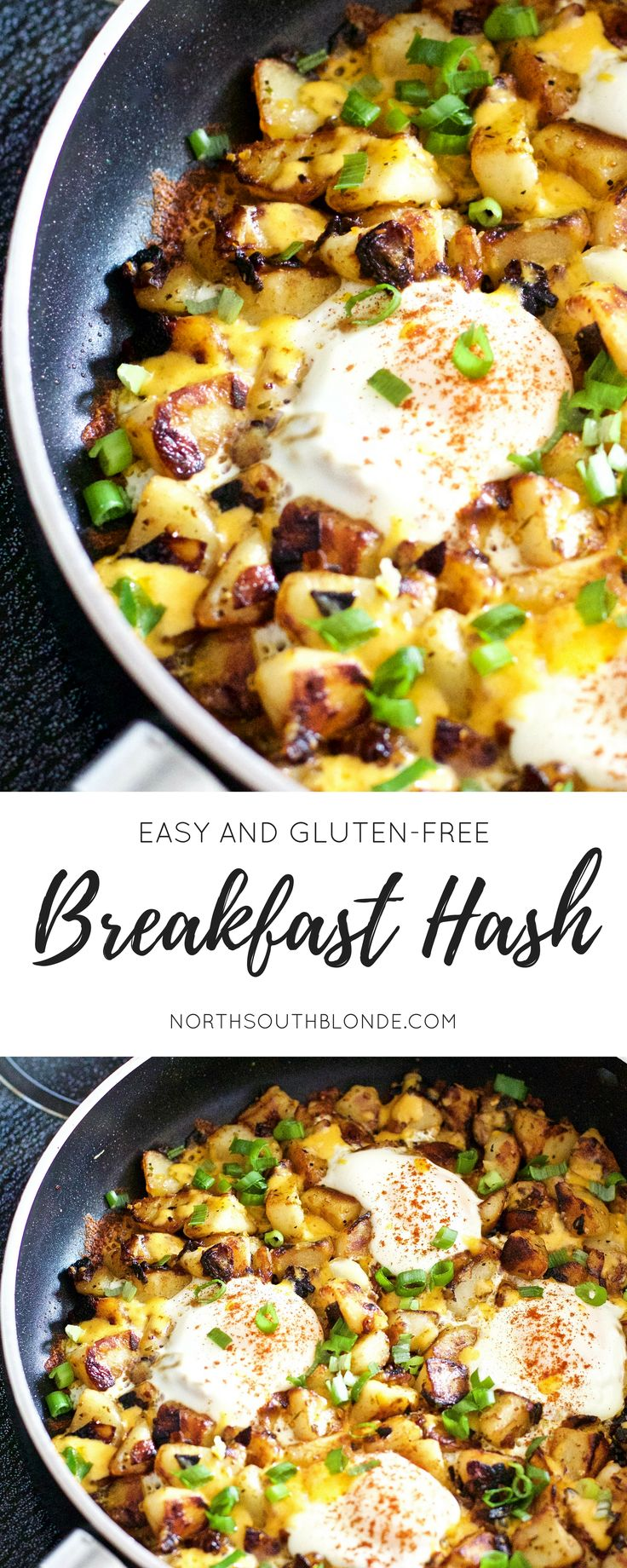 Scrumptious, hearty, full of protein breakfast hash that is sure to coat the stomach after a fun date night ;) Super easy to make, and oh so cheesy! Recipe | Fast | Quick | Eggs | Breakfast | Brunch | Lunch | One Pan | One Pot | Potatoes | Cheese | Paprika | Poached | Over Easy | Well Done |