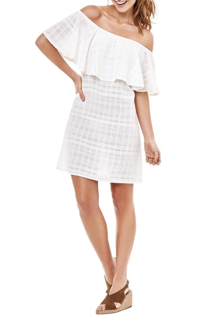 White cover-up dress with off-shoulder short sleeves and ruffle detail on elasticized shoulder band.   White Cover Up Dress by Estivo. Clothing - Swimwear - Cover Ups Los Angeles, California