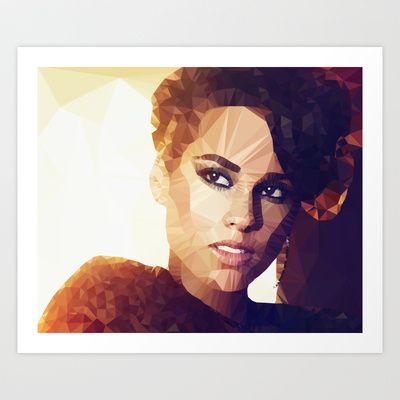 Alicia Keys | Polygon Art Art Print by Mirek Kodes