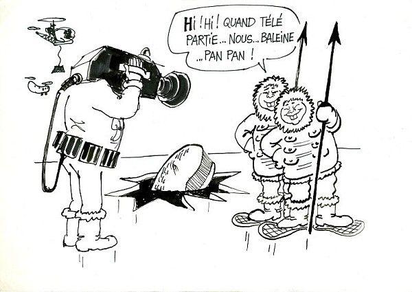 Cabu, Quand télé partie... Nous... Baleine PAN PAN !, feutre, 1980-1999 / ©Musée du Vivant - AgroParistech