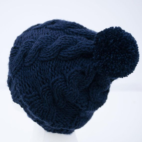 9677c4e6493 Navy Blue Satin Lined Beanie for Natural Hair - Large Winter Pom Pom Hat -  Smooth Frizz Free Hair Cap - Non Wool Chunky Knit Toboggan