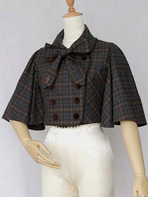 Victorian maiden British Check Cape Jacket
