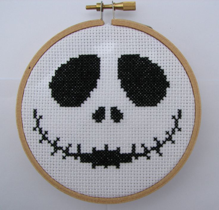 "Handmade ""Jack"" The Nightmare Before Christmas Hoop Cross Stitch by RikkasCreations on Etsy"