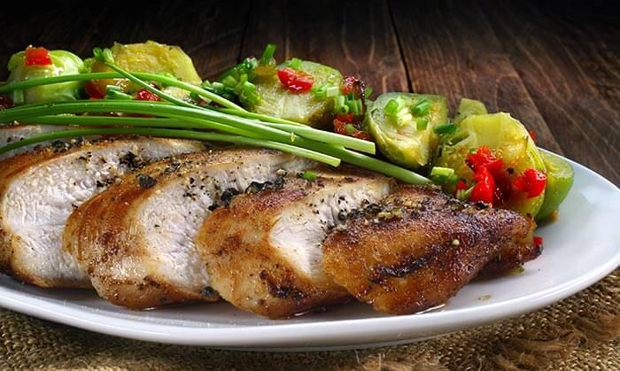 Low Calorie Dinner Recipes - Chicken Breast With Brussels Sprouts