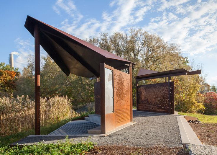 Plant Architect has used weathering steel to create a series of wing-like structures for bird watchers in a Toronto park