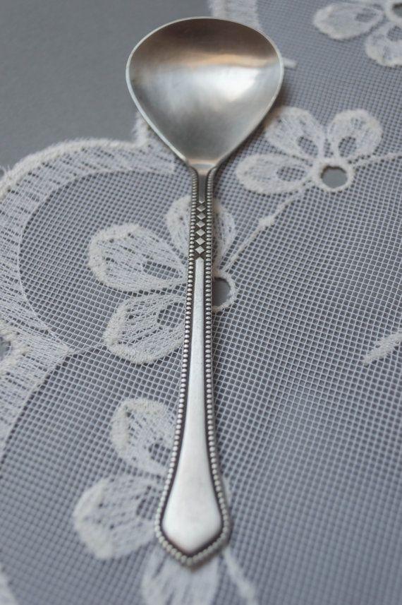 Vintage sugar spoon silver plated dessert serving spoon