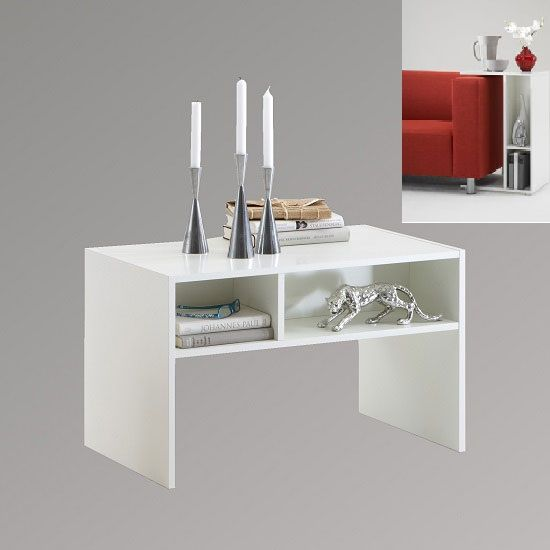 Change Wooden Mountable Side Table in White With Two Compartment