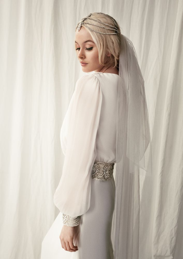 Bo & Luca 'Cannes' gown and 'Santa Monica' headpiece