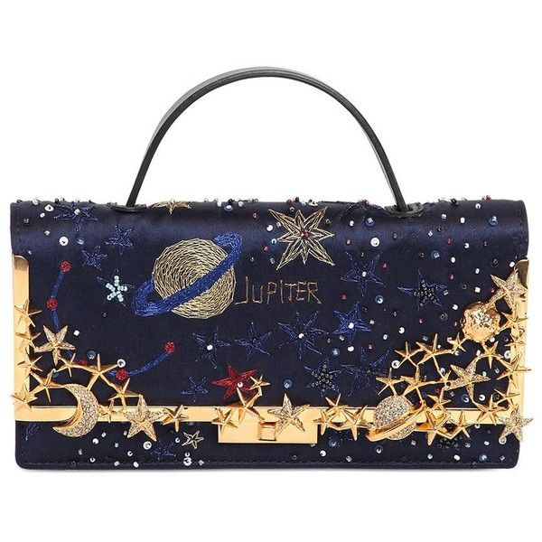 VALENTINO Cosmos Embroidered Satin Clutch featuring polyvore, fashion, bags, handbags, clutches, midnight blue, embellished handbags, satin handbag, beaded handbag, valentino purses and sequin handbags