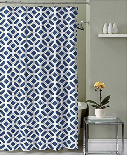 Karen Navy Blue Taupe White Canvas Fabric Shower Curtain: Geometric Design #CHDHome #Contemporary