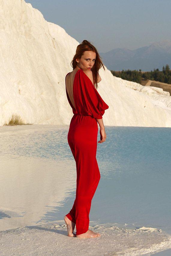 Backless Jumpsuit Red Catsuit Black Jumpsuit Wedding