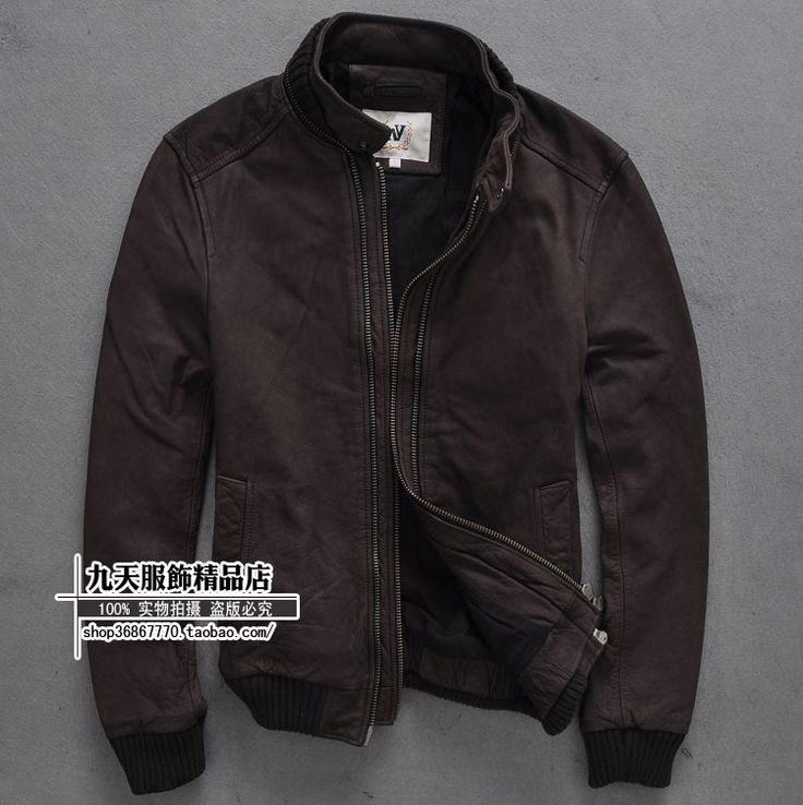 Find More Information about Free Shipping New Fashion Stand Collar Slim  100% Genuine Cow Skin Double Zipper Leather Clothing Men Winter Keep Warm  Coat,High ...