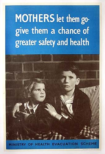 Mothers let them go- give them a chance of greater safety and health. Ministry of Health evacuation scheme WWII poster