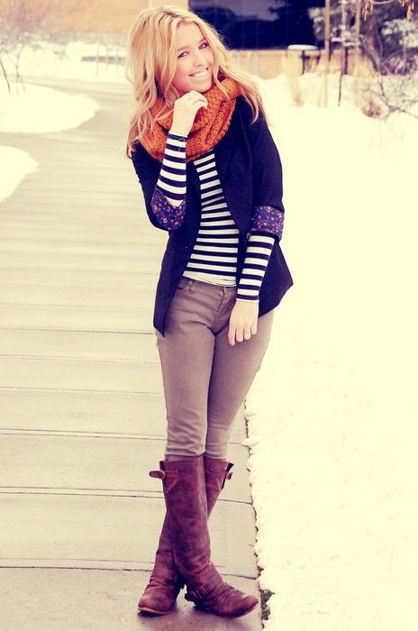 Navy and cream striped shirt, navy blazer, oatmeal colored skinny pants, distressed brown riding boots, orange infinity scarf