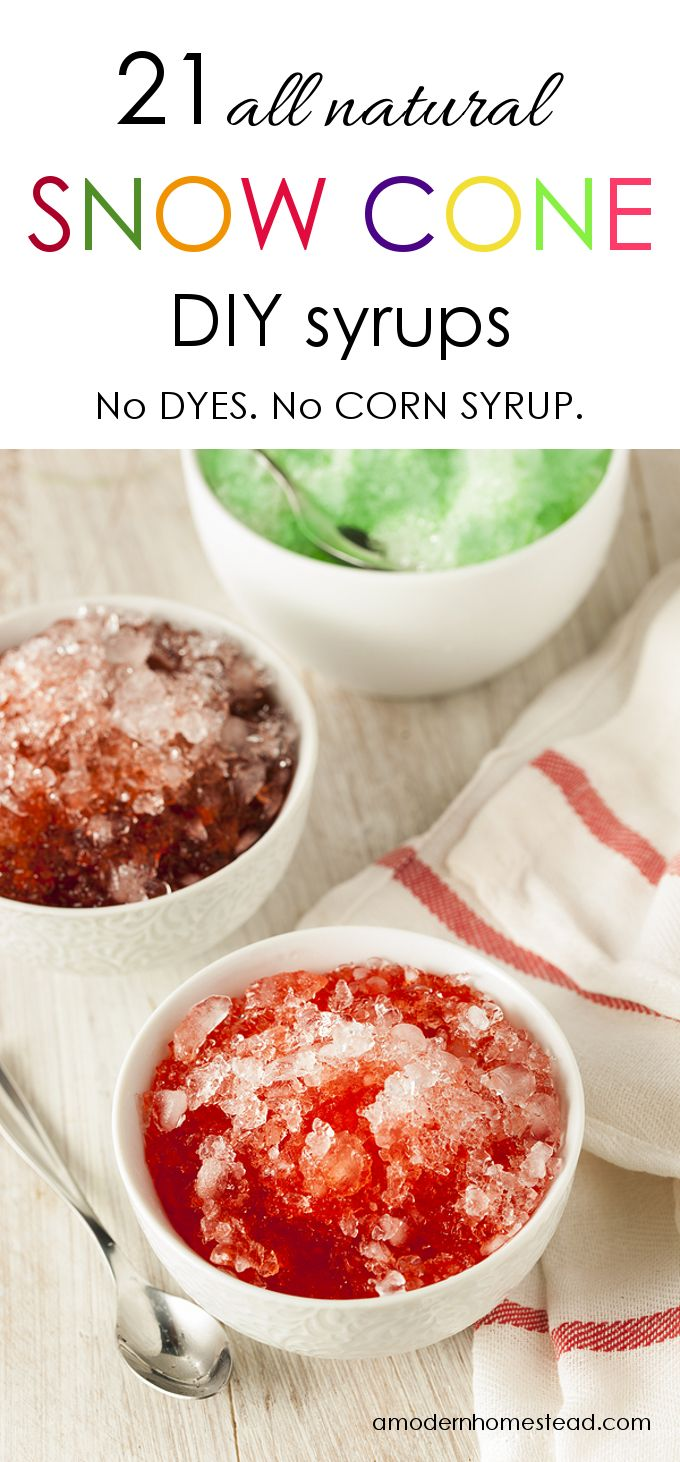 Trying to avoid artificial dyes? Find out how easy it can be with these 21 recipes for All Natural DIY Snow Cone Syrups!
