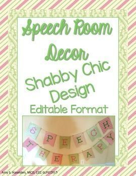 "**50% off for 48 hours!**This unit contains a ""Speech Therapy"" banner in coordinating pink and green colors for your bulletin board and speech room door. Soft, pleasing colors sure to make you enjoy your little piece of real estate even more! (I don't k"