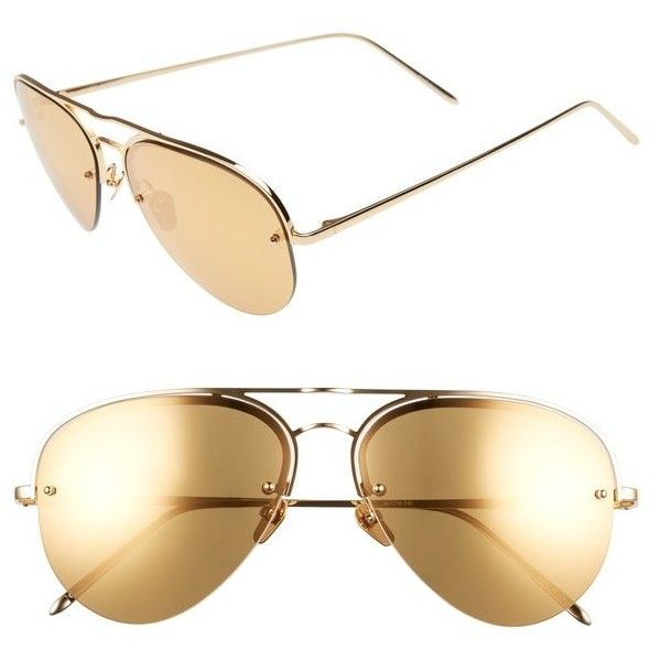 Women's Linda Farrow 60Mm Mirrored 22 Karat Gold Aviator Sunglasses (26.218.480 VND) ❤ liked on Polyvore featuring accessories, eyewear, sunglasses, titanium frame glasses, gold mirrored sunglasses, linda farrow sunglasses, mirror lens sunglasses and mirrored lens sunglasses