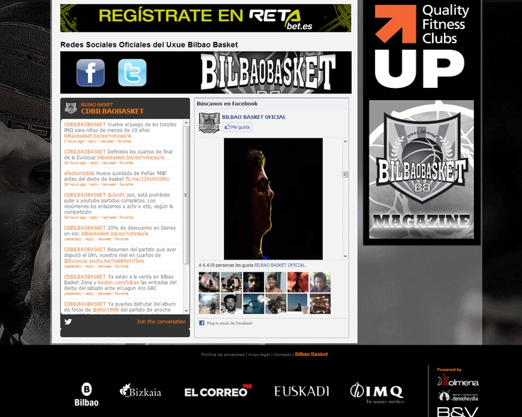 Seccion de imagen de las Redes Sociales de la web de Bilbaobasket.biz.
