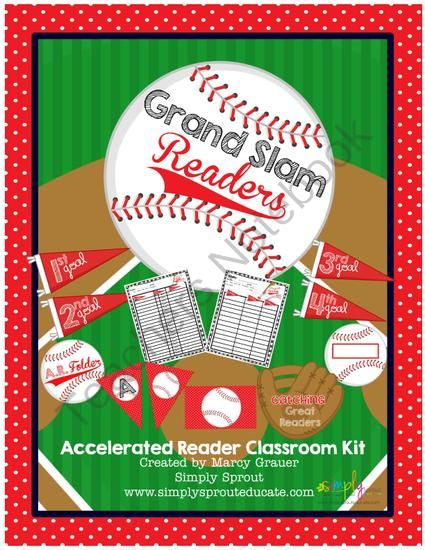 Grand Slam Readers Accelerated Reading Kit for the classroom from Simply Sprout on TeachersNotebook.com (39 pages)  - Hit your reading program out of the park with our Grand Slam Accelerated Reader kit!. Track student goals and progress using the baseball themed resources provided.