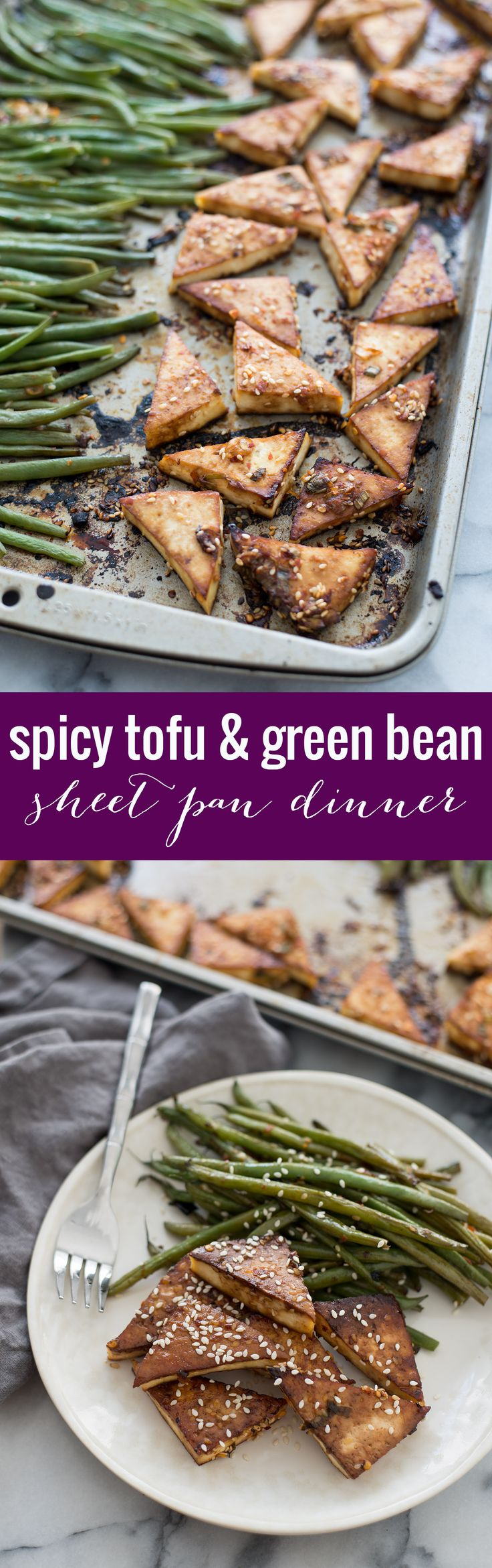 Sheet Pan Spicy Tofu and Green Beans! You are going to love this one pan meal. Spicy tofu with crispy green beans. Vegan and Gluten-Free, a must-make! | www.delishknowledge.com