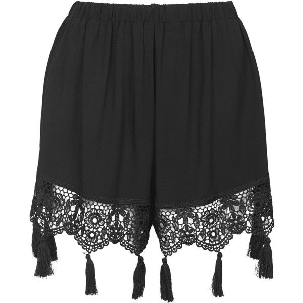 TOPSHOP Crochet Tassel Trim Shorts ($52) ❤ liked on Polyvore featuring shorts, bottoms, short, black, tassel shorts, topshop, black elastic waist shorts, topshop shorts and black shorts