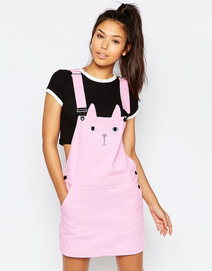 Image 1 of Lazy Oaf Pinafore Overall Dress With Cat Face