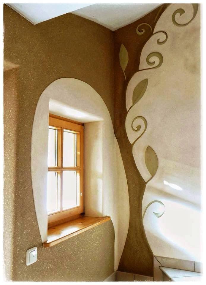 Beautiful clay plaster by Margit Beilhack of LehmRaum