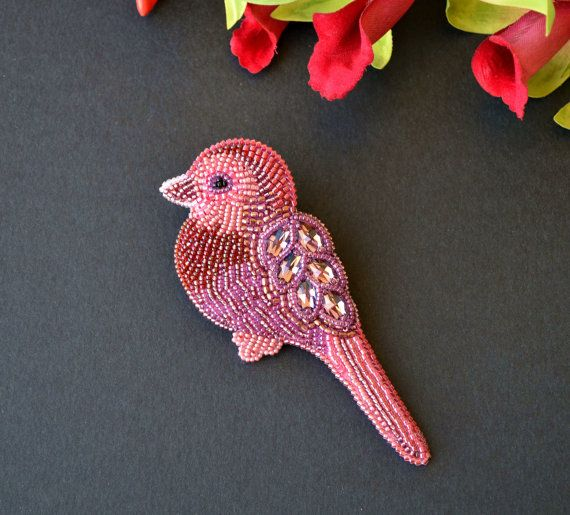 Bead embroidery brooch bird with Swarovski and by XeniaArtStudio