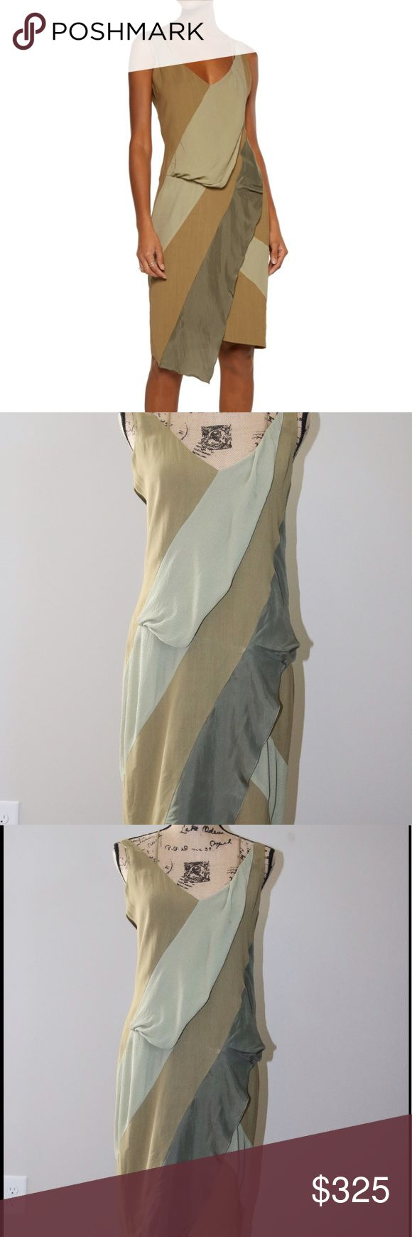 BELSTAFF asymmetric silk/ satin trim dress sz 42 Belstaff sage green , light green, army green,  twill crepe    Crossover shoulder strap  draped bodice   72% viscose  28% ramie 100% silk belstaff Dresses