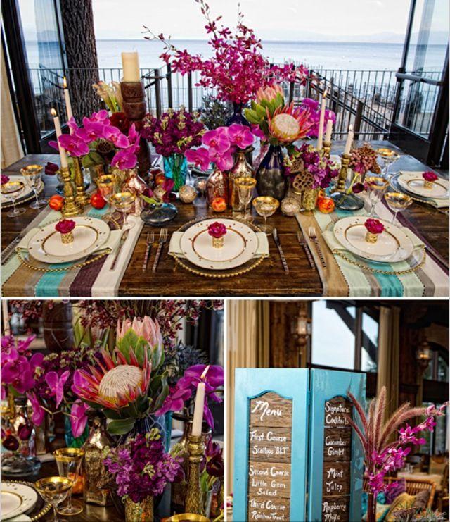 Bohemian Wedding Reception: Turquoise & Fuchsia Boho Wedding Reception.