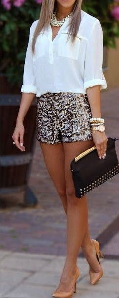 Hot hot hot! Love this white collared shirt, sparkly hot pants outfit.  #holidaywear #lulus