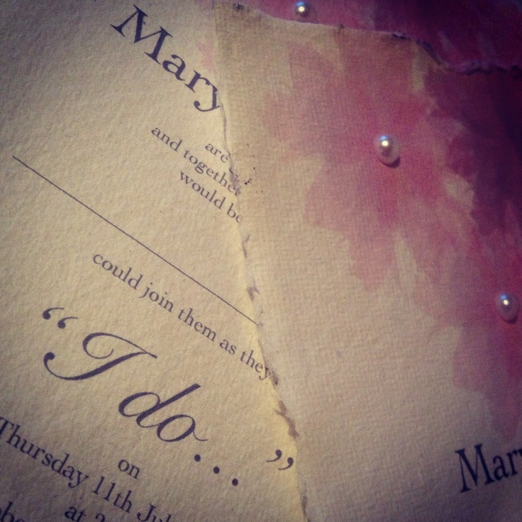 Poppy's in July...dusky pink and pearls create the magic for this handmade wedding invitation on Indian Cotton Paper...