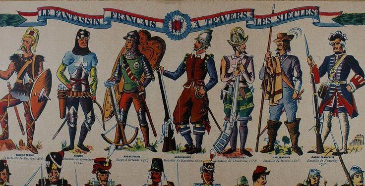 """MATCH-NOËL - """" Le Fantassin Français à travers les siècles """" - Planche colorée - 1939"""