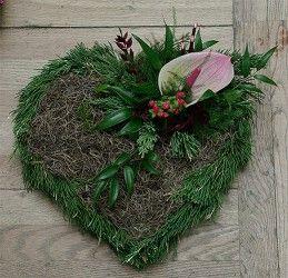 Serce na grób ciemno zielone