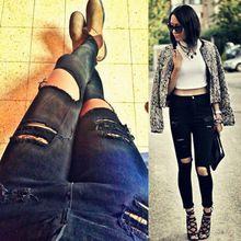 2015 la venta del nuevo moda mujeres Casual negro de cintura alta pantalones vaqueros rasgados hasta la rodilla agujero flaco lápiz de los pantalones Denim Jeans rasgados para las mujeres(China (Mainland))