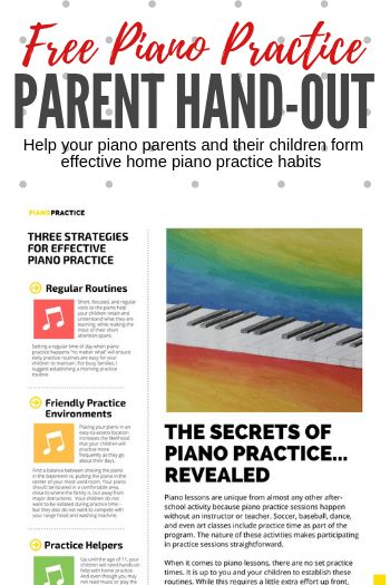 A piano practice handout for parents in your studio