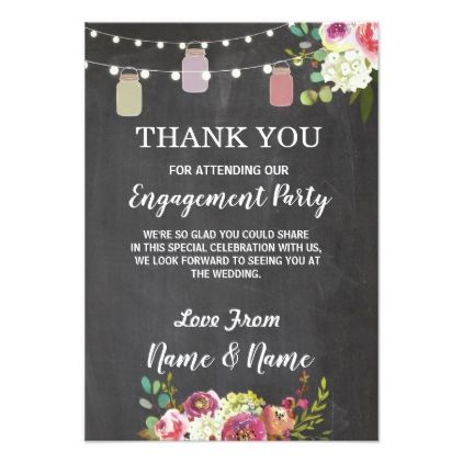 thank you card engagement wedding jars chalk invitations custom unique diy personalize occasions - Engagement Thank You Cards
