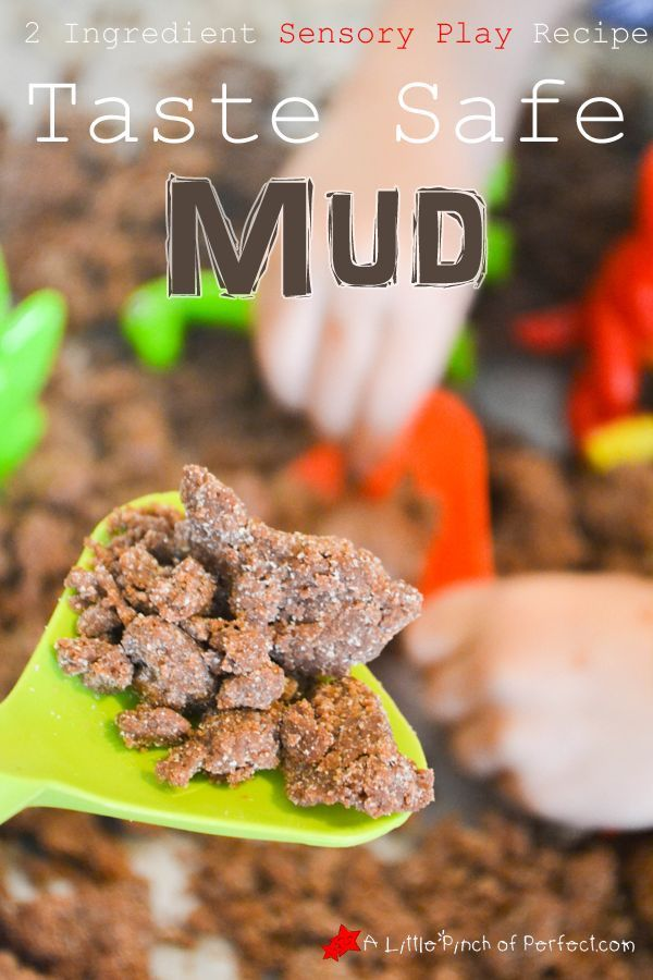 Sensory Play: Taste Safe Mud Recipe -only 2 ingredients, fun to build with, toddler friendly, can go with lots of themes (bugs, dinosaurs, construction, garden, spring...)