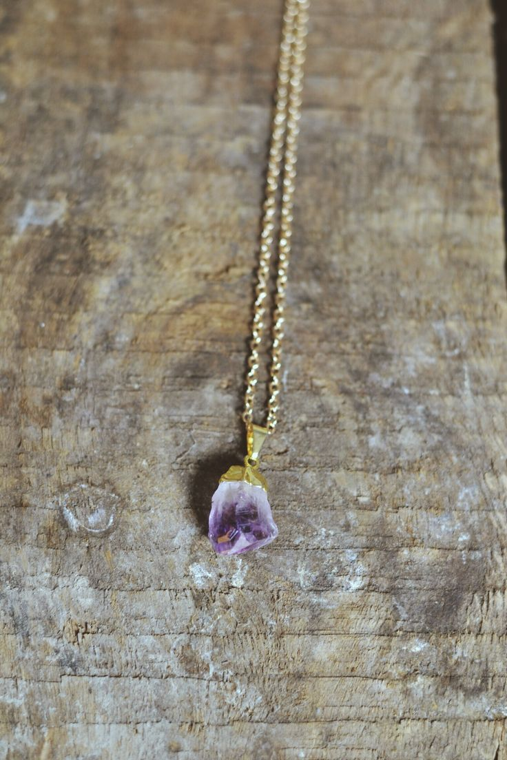 Raw Amethyst Point Pendant with gold electroplated cap. https://www.facebook.com/moonflowernz