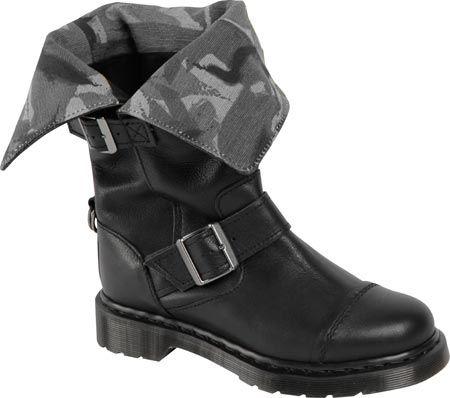 Dr. Martens Kathleena Strap Calf Boot - Black Darkened Mirage - FREE Shipping & Returns | Shoebuy.com