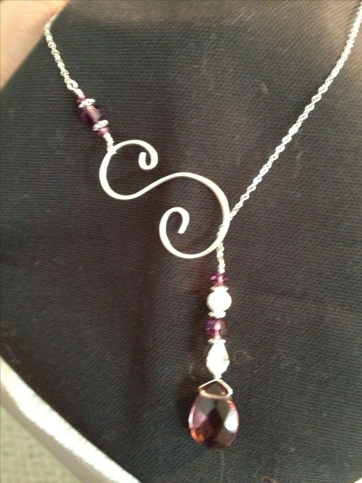 Purple lariat necklace