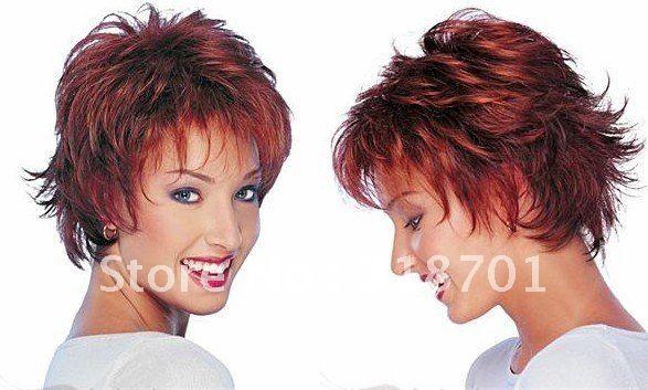 Купить товарГорячая! Парик волос, Мода волос, Леди парик, Короткие волосы, Красновато коричневый, Высококачественный, Бесплатная доставка в категории Искусственные парикина AliExpress.                    Цвет: посм�%B