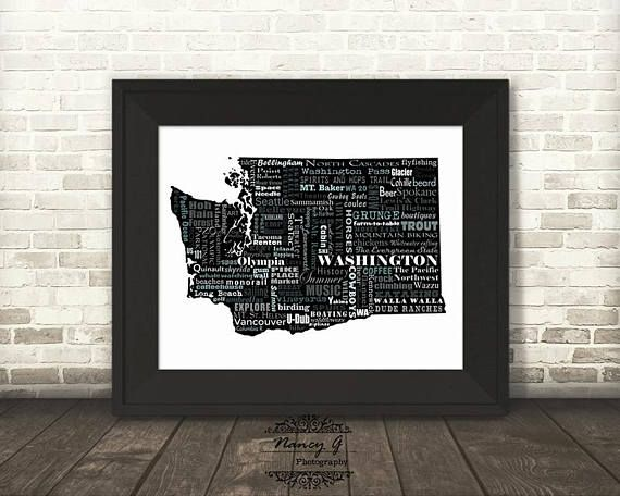 Washington State Slogans Wazzu Word Art Typography Map Etsy Word Art Typography Word Art Custom Word Art
