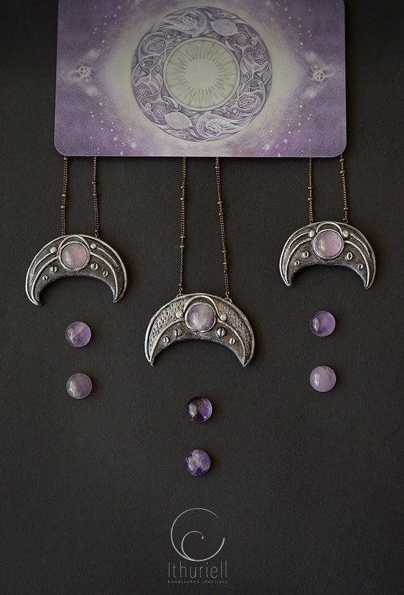 Crescent moon lunula pendant, Slavic Viking amulet, lavender pink gold grey silver necklace,elven jewelry, witchy gift for her, moon goddess
