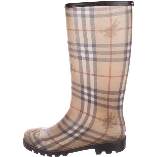 Pre-owned Burberry Haymarket Check Rain Boots ($200) ❤ liked on Polyvore featuring shoes, boots, brown, colorful rain boots, brown boots, wellies rubber boots, checkered boots and colorful shoes