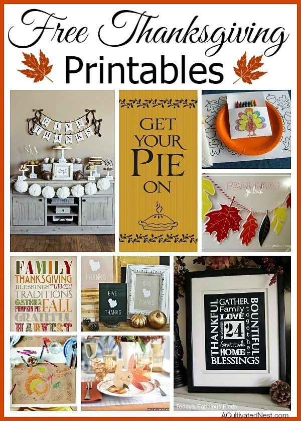 Need some ideas to keep the kids busy on Thanksgiving? Or maybe a quick little something for your Thanksgiving home decor? Here's a collection of free Thanksgiving Printables #freeprintables #thanksgivingcrafts